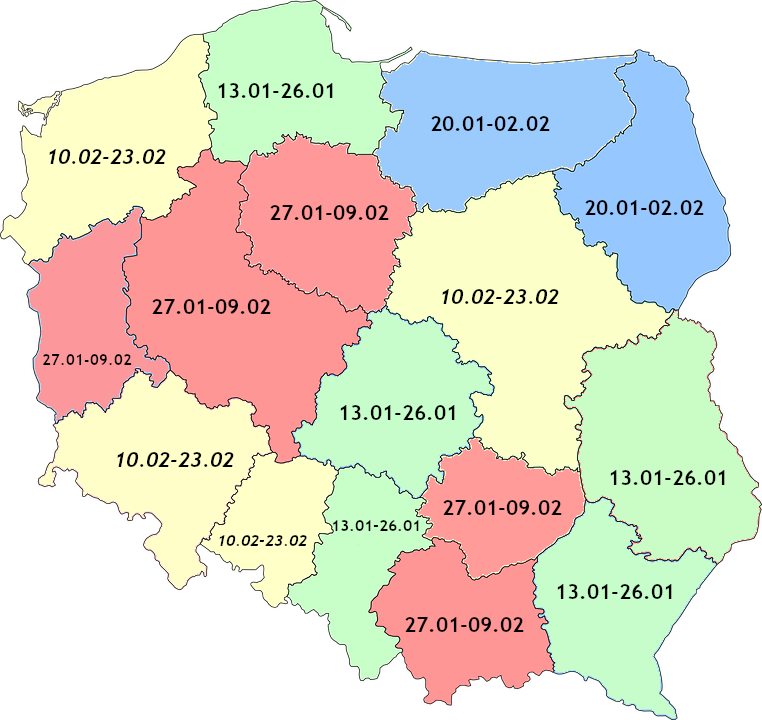 mapa polski ferie zimowe 2020